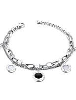 cheap -Women's Clear Cubic Zirconia Bracelet Geometrical Heart Stylish Simple Titanium Steel Bracelet Jewelry Rose Gold / Silver For Daily Promise
