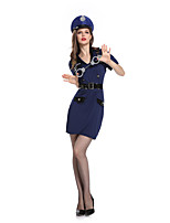 cheap -Police Cosplay Costume Adults' Women's Halloween Halloween Halloween Festival / Holiday Terylene Blue Women's Easy Carnival Costumes Solid Color / Dress / Belt / Hat