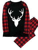 cheap -Women's Warm Pajamas Sets Home Christmas Bed Elastic Waist Print Cartoon Grid / Plaid Elk Polyester Simple Soft Sweet T shirt Pant Fall Winter Crew Neck Long Sleeve Seamed