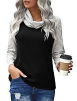 cheap -Women's Holiday T shirt Plain Striped Long Sleeve Patchwork Cowl Neck Vintage Tops Regular Fit Blue Blushing Pink Gray