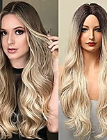 cheap -ombre ash blonde wigs for women long wavy wigs middle part hair replacement wigs for daily use(ombre blonde , 26inches)