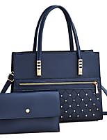 cheap -Women's Bags PU Leather Top Handle Bag 2 Pieces Purse Set Beading Zipper Checkered / Gingham Daily Date 2021 Handbags Yellow Blushing Pink Green Royal Blue
