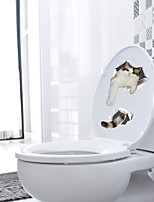 cheap -Animals Wall Stickers Kids Room Kindergarten Toilet Removable Pre-pasted PVC Home Decoration Wall Decal 1pc