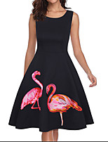 cheap -Women's A Line Dress Knee Length Dress Black Sleeveless Print Print Fall Round Neck Casual 2021 S M L XL XXL 3XL 4XL