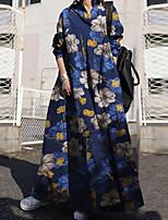 cheap -Women's Swing Dress Maxi long Dress Black Red Dark Blue Long Sleeve Floral Pocket Button Print Fall Shirt Collar Casual Regular Fit 2021 M L XL XXL 3XL 4XL 5XL