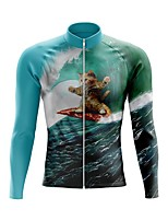 cheap -21Grams Men's Long Sleeve Cycling Jersey Spandex Polyester Blue+Green Cat 3D Funny Bike Top Mountain Bike MTB Road Bike Cycling Quick Dry Moisture Wicking Breathable Sports Clothing Apparel