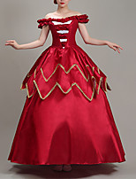 cheap -Ball Gown Elegant Vintage Halloween Quinceanera Dress Off Shoulder Short Sleeve Floor Length Satin with Ruffles Lace Insert 2021