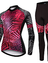 cheap -21Grams Women's Long Sleeve Cycling Jersey with Tights Spandex Polyester Red Leaf Funny Bike Clothing Suit 3D Pad Quick Dry Moisture Wicking Breathable Back Pocket Sports Leaf Mountain Bike MTB Road