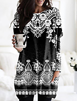 cheap -Women's Floral Theme Painting T shirt Floral Graphic Long Sleeve Pocket Print Round Neck Basic Tops Black / 3D Print