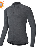 cheap -CAWANFLY Men's Long Sleeve Cycling Jersey Cycling Jacket Winter Dark Grey Geometic Bike Tracksuit Winter Jacket Top Thermal Warm Fleece Lining Sports Clothing Apparel / Micro-elastic / Athleisure