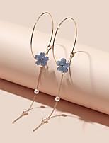 cheap -Women's Hoop Earrings Tropical Petal Rustic Vintage Classic Modern Korean Earrings Jewelry Purple For Party Gift Daily Club Festival 1 Pair