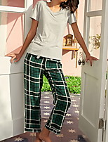 cheap -Women's Pajamas Sets Home Daily Elastic Waist Print Grid / Plaid Polyester Simple Soft Sweet T shirt Pant Fall Spring V Wire Short Sleeve Long Pant Seamed