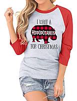 cheap -Women's Christmas Painting T shirt Plaid Text Animal Print Round Neck Basic Christmas Tops Regular Fit Black Red