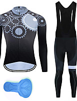 cheap -21Grams Men's Long Sleeve Cycling Jersey with Bib Tights Summer Spandex Polyester Black Gradient Gear Funny Bike Clothing Suit 3D Pad Quick Dry Moisture Wicking Breathable Back Pocket Sports Gradient