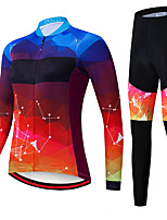 cheap -21Grams Women's Long Sleeve Cycling Jersey with Tights Spandex Polyester Purple Galaxy Funny Bike Clothing Suit 3D Pad Quick Dry Moisture Wicking Breathable Back Pocket Sports Galaxy Mountain Bike