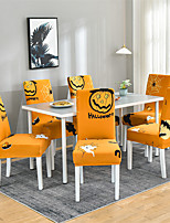 cheap -Halloween Ghost Stretch Kitchen Chair Cover Slipcover for Dinning Party Holiday Orange Geometric Soft Durable Washable