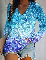 cheap -Women's Geometric Painting T shirt Donuts Long Sleeve Patchwork Print V Neck Beach Tops Regular Fit Light Blue