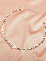 cheap -Necklace Women's Classic Pearl Flower Fashion Lovely Silver 48.5 cm Necklace Jewelry 1pc for Gift Daily Work Festival Round