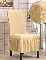 cheap -Stretch Kitchen Chair Cover Slipcover Jacquard for Dinning Party Yellow With Skirt Soft Comfortable Firm Elegant Chairs Covers