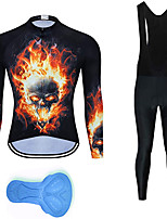 cheap -21Grams Men's Long Sleeve Cycling Jersey with Bib Tights Summer Spandex Polyester Black Skull Funny Bike Clothing Suit 3D Pad Quick Dry Moisture Wicking Breathable Back Pocket Sports Patterned