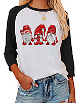 cheap -Women's Christmas Painting T shirt Graphic Color Block Print Round Neck Basic Christmas Tops Regular Fit Gray Green Black
