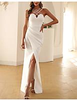 cheap -Sheath / Column Minimalist Sexy Party Wear Formal Evening Dress Halter Neck Sleeveless Floor Length Polyster with Split Strappy 2021