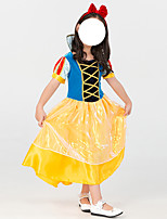 cheap -Princess Dress Kid's Girls' Cute Halloween Halloween Daily Wear Halloween Children's Day Masquerade Festival / Holiday Terylene Yellow+Blue Easy Carnival Costumes Solid Color / Headwear
