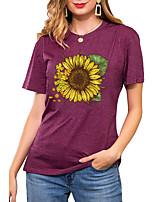 cheap -Women's T shirt Floral Graphic Sunflower Print Round Neck Basic Vintage Tops Regular Fit Blue Blushing Pink Wine