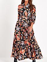 cheap -Women's A Line Dress Maxi long Dress Black 3/4 Length Sleeve Floral Print Fall Shirt Collar Casual Regular Fit 2021 S M L XL