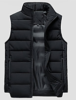 cheap -Men's Vest Daily Fall Winter Regular Coat Regular Fit Warm Casual Jacket Sleeveless Solid Color Quilted Blue Khaki Black
