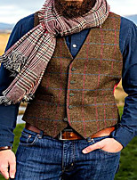 cheap -Men's Vest Waistcoat Dailywear Euramerican Solid Colored Single Breasted Regular Fit Polyester Men's Suit Brown - Shirt Collar