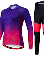 cheap -21Grams Women's Long Sleeve Cycling Jersey with Tights Spandex Purple Gradient Dot Bike Quick Dry Moisture Wicking Sports Gradient Mountain Bike MTB Road Bike Cycling Clothing Apparel / Stretchy