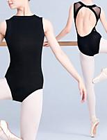 cheap -Ballet Leotard Gymnastics Leotards Women's Leotard Dancewear Spandex Cotton High Elasticity Quick Dry Breathable Sweat wicking Solid Color Sleeveless Training Competition Ballet Dance Rhythmic