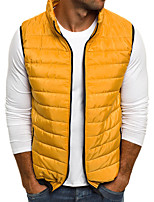 cheap -Men's Vest Daily Fall Winter Regular Coat Regular Fit Thermal Warm Sporty Jacket Sleeveless Solid Color Quilted Blue Yellow Wine