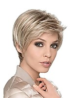 cheap -Short Natural Blonde Wig with Bangs Synthetic Layered Hair Full Wigs for Women