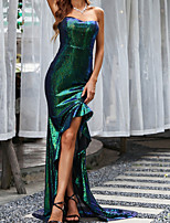 cheap -Sheath / Column Sparkle Sexy Party Wear Formal Evening Dress Strapless Sleeveless Sweep / Brush Train Asymmetrical Sequined with Sequin 2021