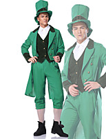 cheap -Cosplay Cosplay Costume Adults' Men's Halloween Halloween Halloween Festival / Holiday Polyster Green Men's Easy Carnival Costumes Solid Color / Coat / Vest / Pants / Hat