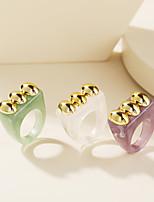 cheap -Ring Geometrical Purple Green White Resin Stylish Simple Unique Design 1pc 6 / Women's