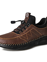 cheap -Men's Unisex Sneakers Sporty Look Leather Shoes Business Sporty Casual Daily Outdoor Leather Cowhide Warm Non-slipping Height-increasing Black Grey Dark Brown Black Fall Winter