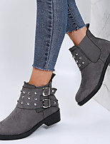 cheap -Women's Boots Block Heel Round Toe Daily PU Rivet Buckle Solid Colored Light Brown Gray Black