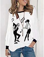 cheap -Women's Portrait T shirt Portrait Long Sleeve Patchwork Print Round Neck Vintage Sexy Tops White