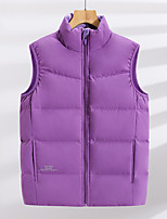 cheap -Women's Hiking Vest Quilted Puffer Vest Down Vest Down Winter Outdoor Thermal Warm Windproof Fleece Lining Lightweight Outerwear Winter Jacket Trench Coat Skiing Fishing Climbing Women's black