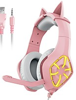 cheap -GS-1000 Pink Cat Ear Headphones Wired Stereo Gaming Computer Headset with Microphone Breathable LED Light for Desktop Laptop