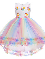 cheap -Kids Little Girls' Dress Unicorn Party Special Occasion Mesh Blushing Pink White Asymmetrical Sleeveless Princess Cute Dresses Children's Day Fall Spring Slim 3-12 Years