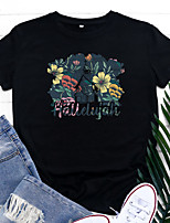 cheap -Women's T shirt Floral Graphic Letter Print Round Neck Basic Vintage Tops Regular Fit Blue Blushing Pink Wine
