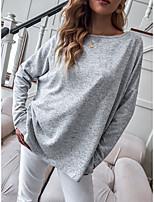 cheap -Women's T shirt Plain Long Sleeve Round Neck Basic Tops Gray