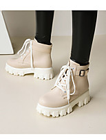 cheap -Women's Boots Chunky Heel Round Toe Booties Ankle Boots Daily Work Microfiber PU Lace-up Button Solid Colored Almond White Black / Booties / Ankle Boots
