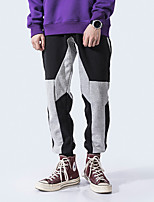 cheap -Men's Casual / Sporty Streetwear Comfort Outdoor Jogger Pants Sweatpants Trousers Casual Daily Pants Patchwork Full Length Drawstring Gray