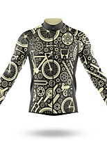 cheap -21Grams Men's Long Sleeve Cycling Jersey Spandex Polyester Black 3D Gear Funny Bike Top Mountain Bike MTB Road Bike Cycling Quick Dry Moisture Wicking Breathable Sports Clothing Apparel / Stretchy