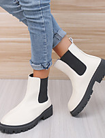 cheap -Women's Boots Block Heel Round Toe Booties Ankle Boots PU Solid Colored Ivory Black